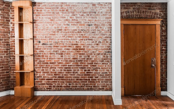 Flat Brick Wall Perspective and Shelf