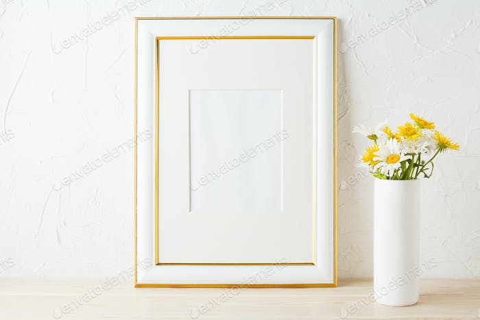 Gold decorated frame mockup with yellow and white daisy