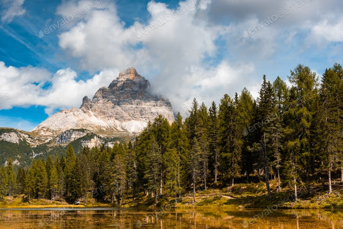 Famous Lake Antorno in Italian Dolomites at Fall Season