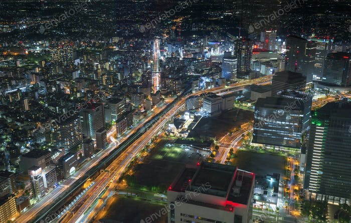 top view of Yokohama traffic at night