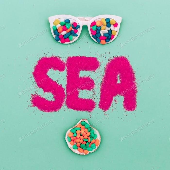 Minimal art. Summer time Holiday Sunglasses fashion Beach mood