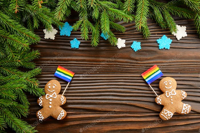 gingerbread men with lgbt flag
