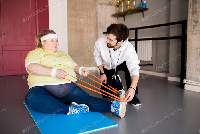 Overweight Woman Doing Sports