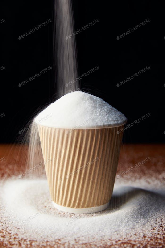 Shot Illustrating High Sugar Levels In Takeaway Drinks