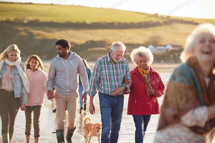 Aktive Mehrgeneration Familie mit Hund Wandern entlang Küste Auf Winter Strand Urlaub