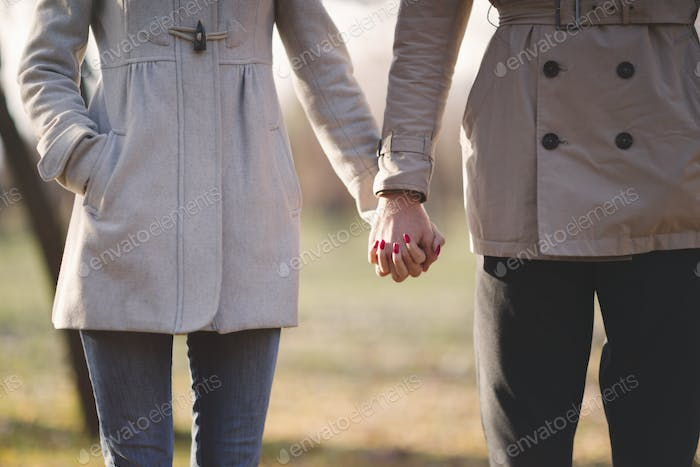 Couple in love outdoors in park