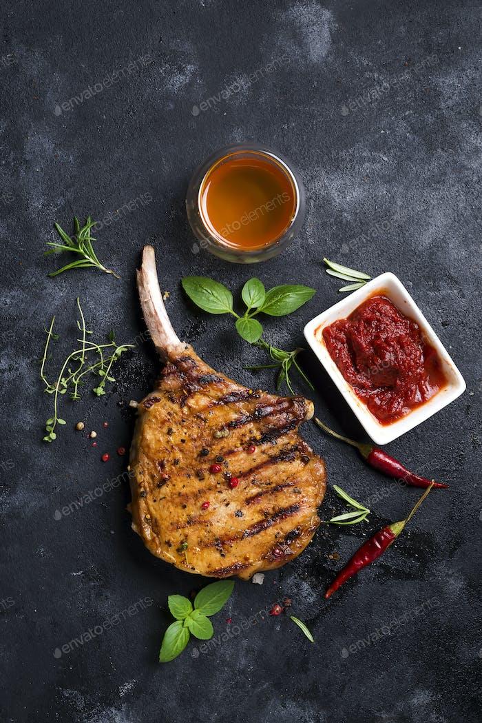 Grilled sliced beef steak