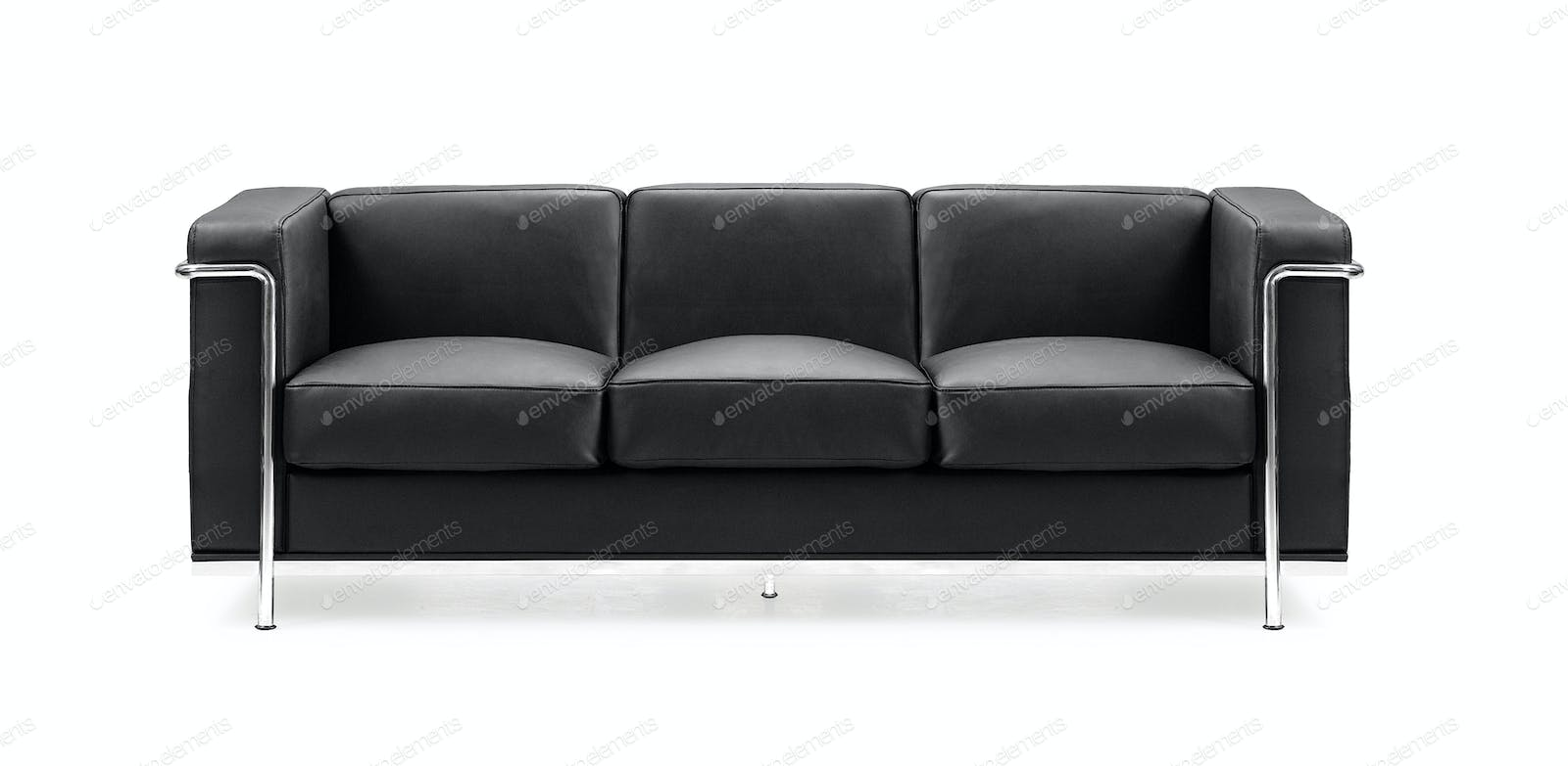 Image Of A Modern Black Leather Sofa