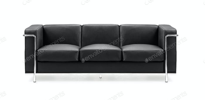Image of a modern black leather sofa isolated