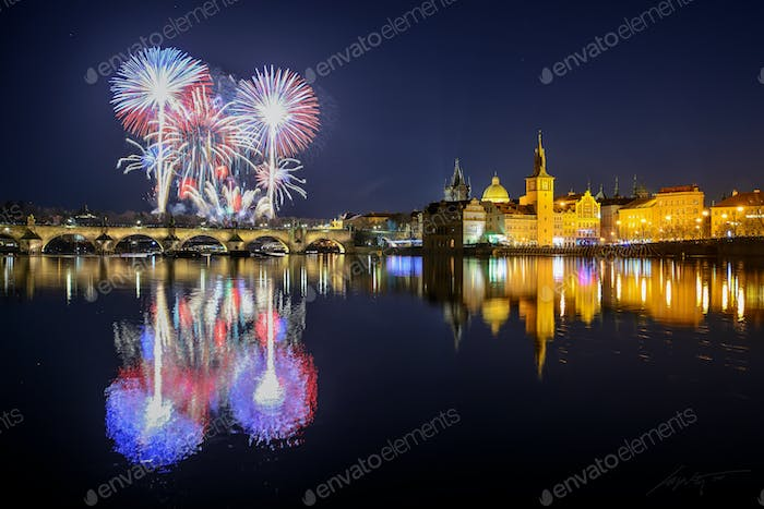 Prague fireworks near Charles Bridge, Prague, Czech republic