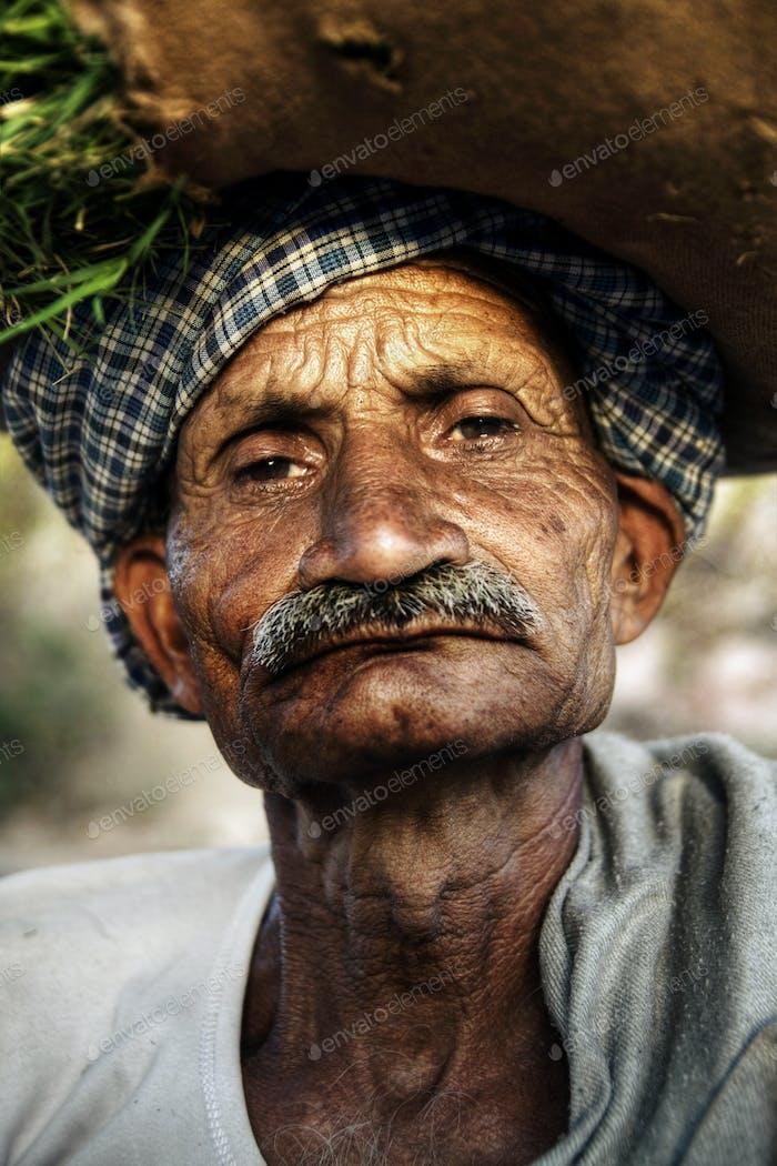 Indigenous Senior Indian Man Looking Grumpy At The Camera