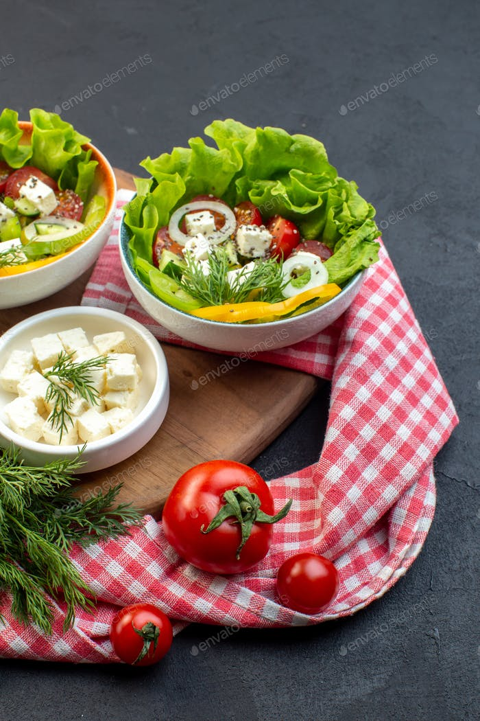 front view vegetable salad with cheese and tomatoes on dark background food diet meal fit lunch