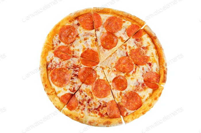 Pizza with pepperoni, tomato sauce and cheese isolated