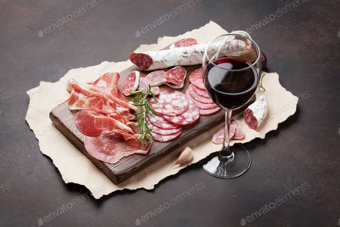 Salami, sausage, prosciutto and wine