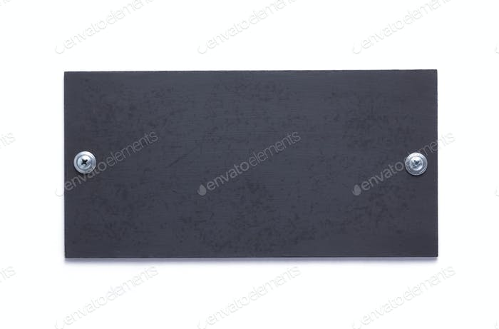 wooden black nameplate or wall sign isolated at white