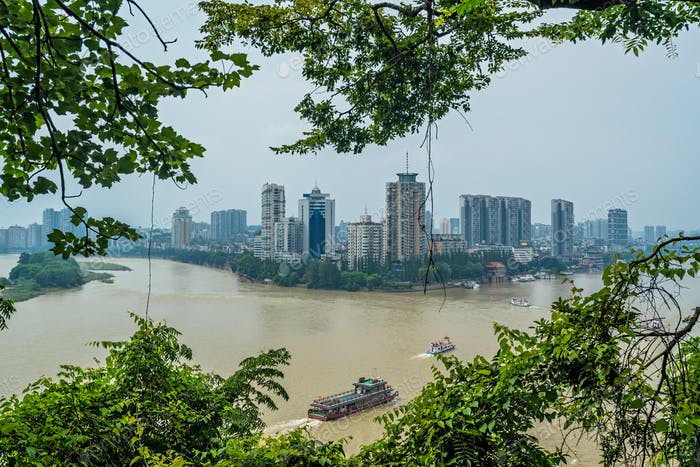 View of Leshan town in summer, China