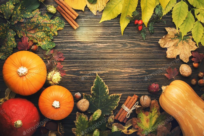 Autumn food top view, Thanksgiving or Halloween background: pumpkins