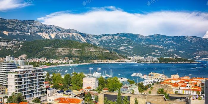 Panoramic summer view of Adriatic sea coast and Budva city