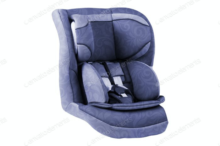 A child's car seat isolated on a white background