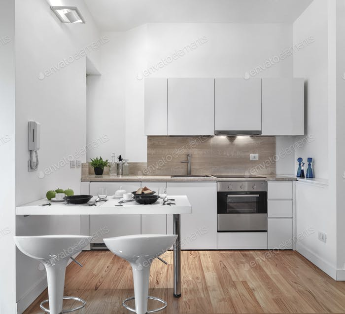Interiors of the Modern Kitchen With Wood Floor