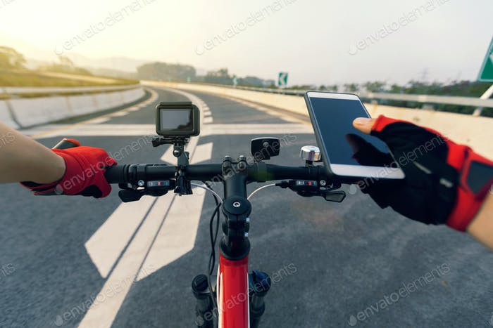Use mobile phone while riding bike on highway