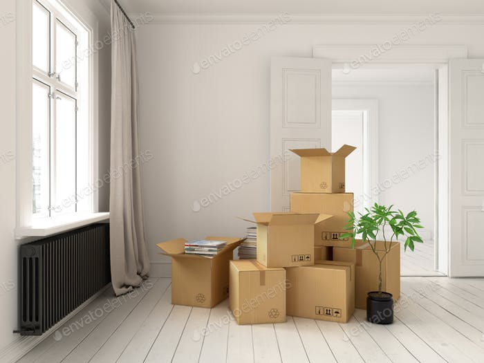 Interior with packed cardboard boxes for relocation 3D rendering