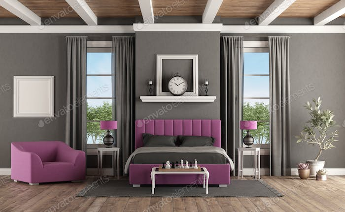 Master bedroom in classic style with modern furniture