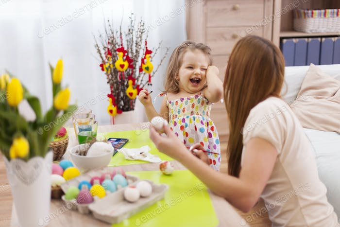 Huge fun with mother in easter time