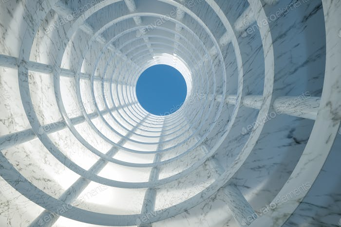 3D Illustration. Low angle view of modern marble building. Architecture concept