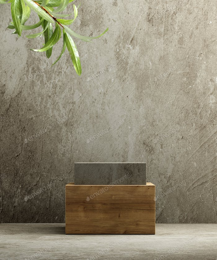 Pedestal for natural cosmetic product presentation. Wood podium with plant leaves. 3d illustration.