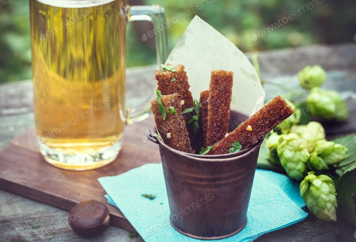 Garlic rye croutons outdoors