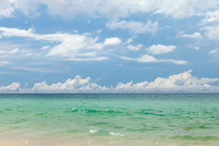 Tropical sea and sky with clouds