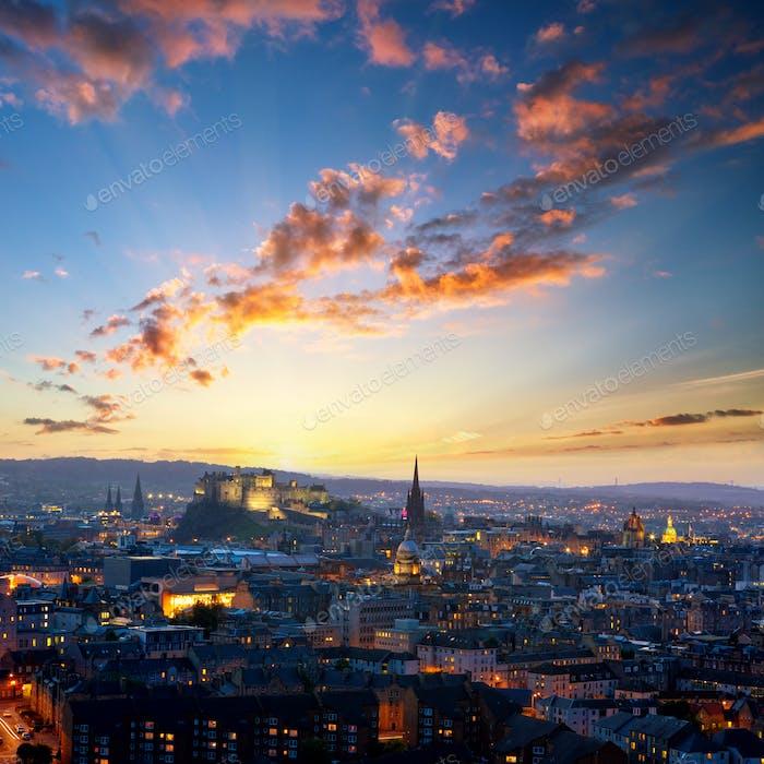Evening view of Edinburgh