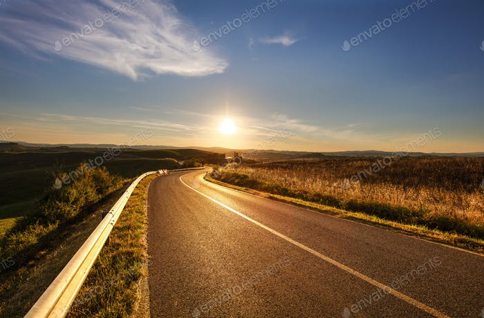 Tuscany, road in Rural Landscape near Volterra in spring, Italy.
