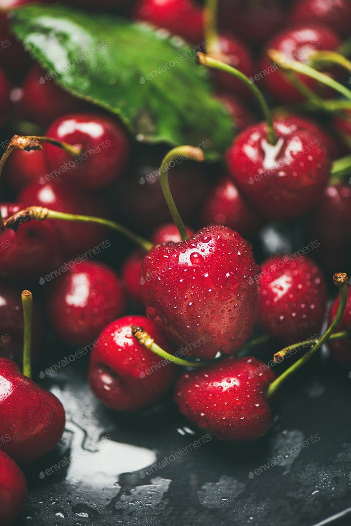 Fresh wet sweet cherries texture, wallpaper and background, vertical composition
