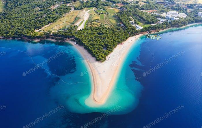 Zlatni rat beach, Hvar island, Croatia. Aerial landscape