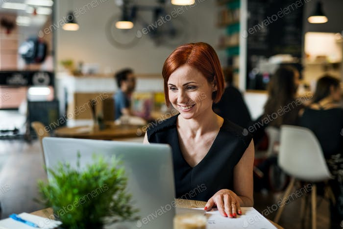 A portrait of woman sitting at the table in a cafe, using laptop.