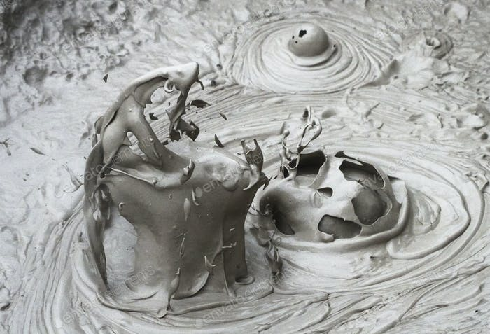 Boiling Mud at a Geothermal Site in New Zealand