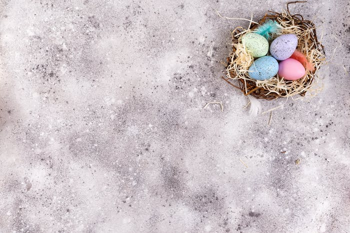 Easter eggs in a nest of grass on a stone background, flat lay