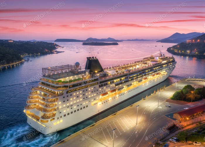 Aerial view of cruise ship in port at night in Dubrovnik