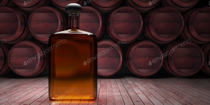Bottle of whisky, stacked barrels and dark cellar background. 3d illustration