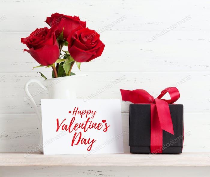 Valentinstagskarte mit Geschenk und Blumen