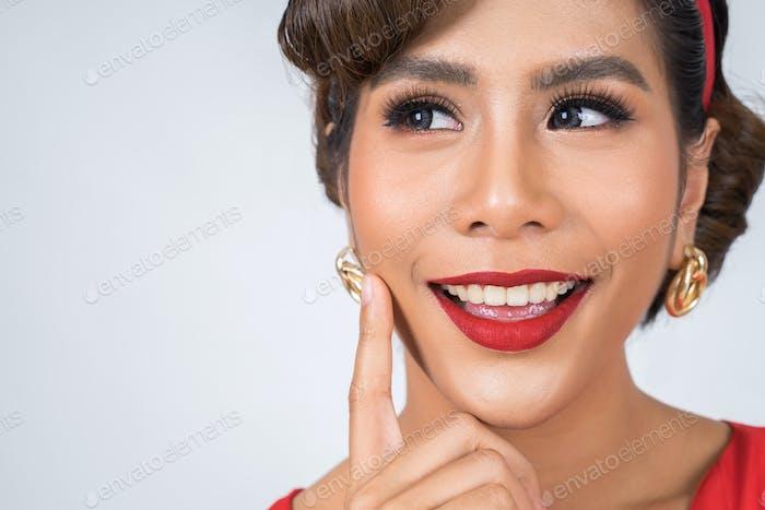 Close up Fashion woman red lips big smile
