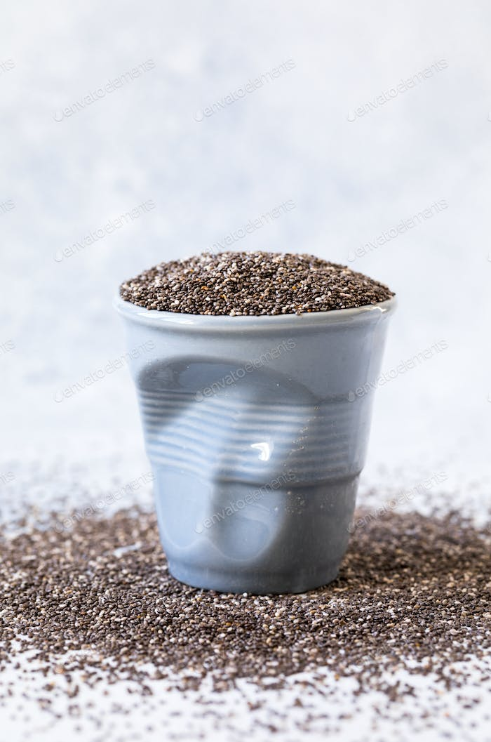 Chia seeds in a cup. Healthy nutrition concept.