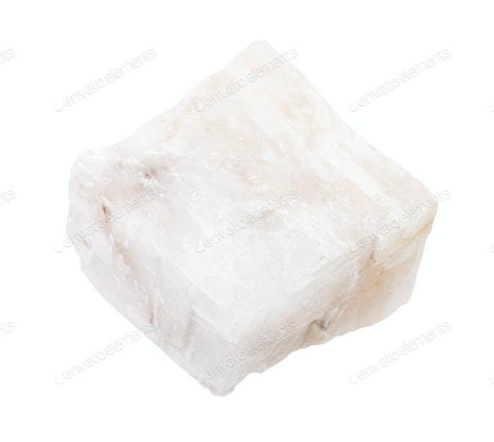 Stück weißes Calcitgestein isoliert auf weiß