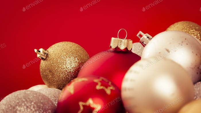 christmas balls with a red background