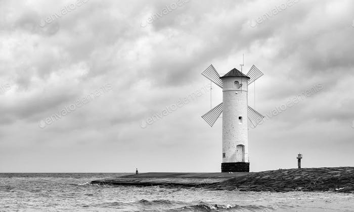 Black and white picture of the windmill lighthouse.