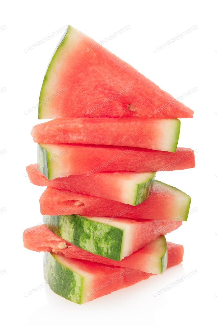 Watermelon slices pile isolated on white, clipping path