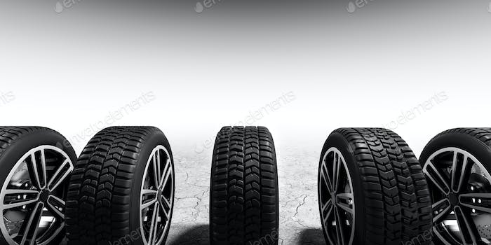 Wheels with modern alu rims on white background