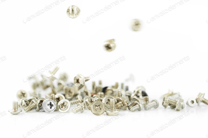 Old screws on the white background-7